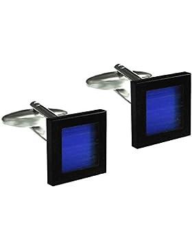 Luxuriöse Manschettenknöpfe Onyx und Cateye schwarz-lapisblau + schwarzer Krokobox
