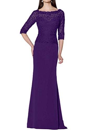 Promgirl House Damen 2016 Edel Mermaid Spitze Abendkleider Cocktail Ballkleider  Lang mit Aermel Lila 8ac89ef582