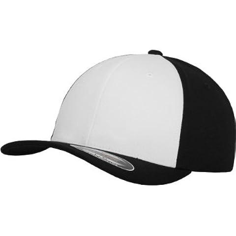 Flexfit - Cappello Performance da adulto, con aletta, Multicolore (Nero/Bianco), L/XL