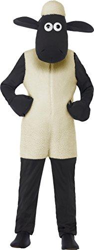 Smiffys, Kinder Unisex Shaun das Schaf Kostüm, Jumpsuit und Kopfteil, Größe: M, (Das Schaf Shaun Amazon Kostüm)
