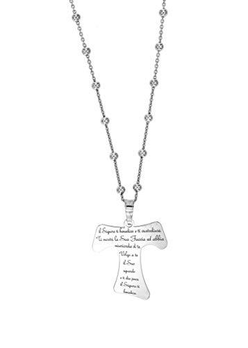 Halskette Tau Kreuz Graviertes Gebet In Italienischen 925er Silber Kreuze Mann Frau Halsketten (Kreuz 24x23MM brüniert - 45CM Halskette)