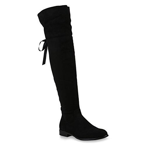Damen Schuhe Stiefel Leicht Gefütterte Overknees Satinoptik Schleifen 147532 Schwarz Satinoptik 38...