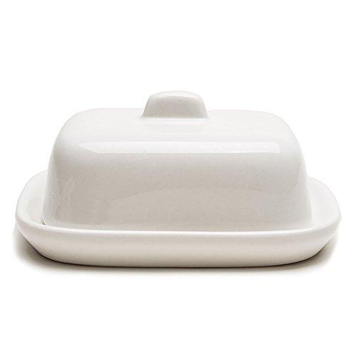 en céramique Petite Beurrier avec couvercle Blanc