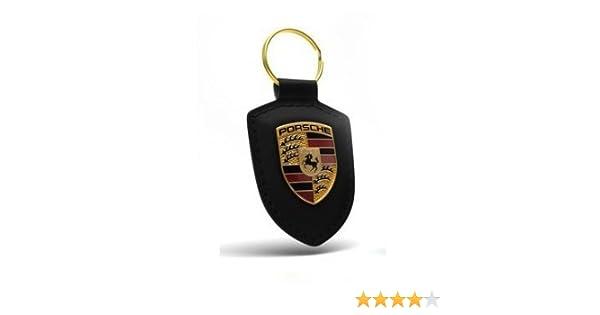 Original Porsche Porte-Clés Cuir Gris avec Armoiries Logo en Métal,  WAP0500900E cc3eaa915aa