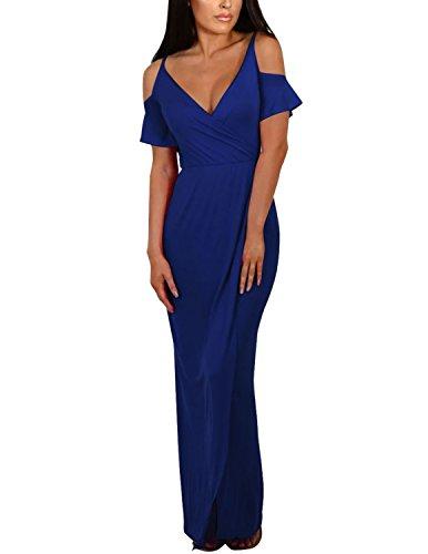 Sitengle Donna Vestiti Lunghi V-collo Abito Con Lo Spacco Fionda Senza Spalline Vestito da Banchetto Sera Blu