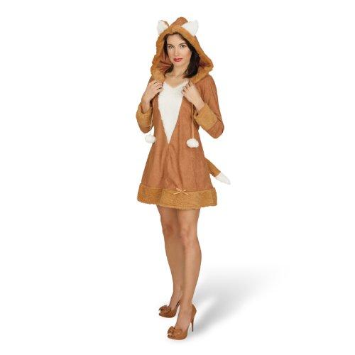 Halloween Rehkitz Kostüm - Elbenwald Fuchs Kostüm Damen Tierkostüm Plüsch Kleid mit Kapuze Minikleid Kunstfellbesatz - 44/46