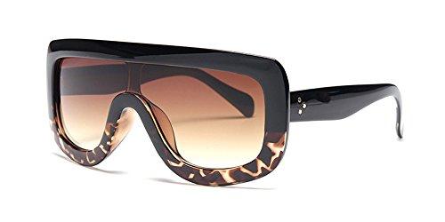 BOZEVON Damenmode Übergroßen rechteckigen Stil Single-Beam dicken Rahmen Shades Sonnenbrille UV400,Schwarz (Rahmen) - Braun (Linse)
