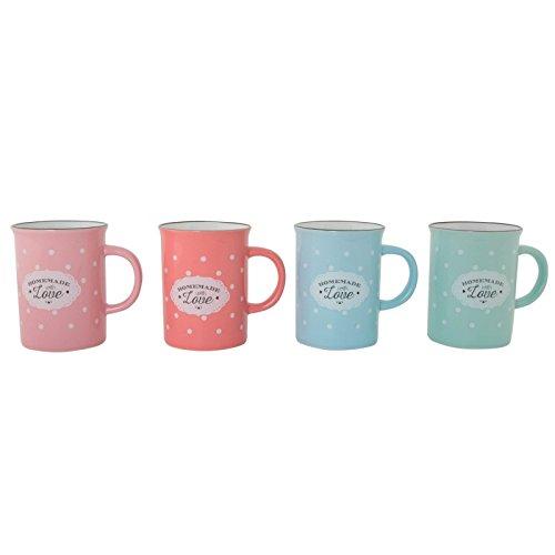 Dcasa - Tazas vintage ceramica 4 colores topos 300ml / Set de 4 tazas