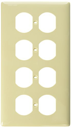 4-gang Wall Plate (Hubbell Wiring Systems NP84I Nylon 4-Duplex Receptacle Wall Plate, Standard Size, 4 Gang, 8-5/16 Width x 4-5/8 Height x 1/16 Thick, Ivory by Hubbell Wiring Systems)