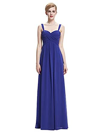 Sleeveless Chiffon Evening Party Dresses A Line Blue Size 14 ST65-3