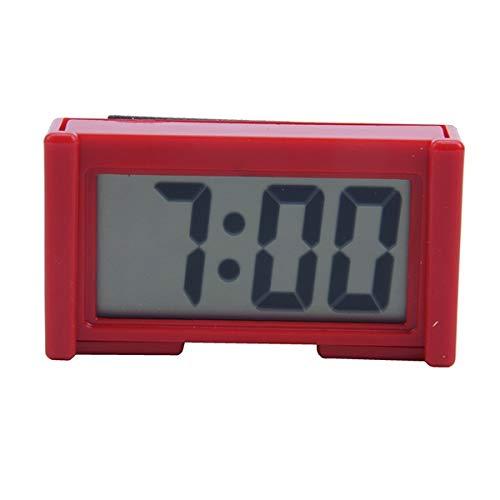TOOGOO Automotive Digital Car LCD Clock Autoadesiva Stick On Time Portatile, Rosso