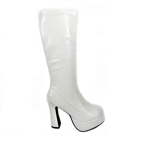 Damen-GoGo-Stiefel für Kostümfeiern, 60er/70er-Retro-Look, Mehrfarbig - White Matt (11827) - Größe: 38