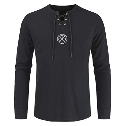 BHYDRY Herrenmode Baumwolle Leinen Solide Langarm Tunnelzug Shirts Tops Blusen -