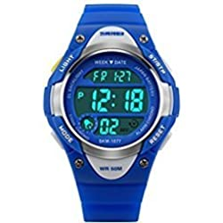 Misskt Children Watch Outdoor Sports Kids Boy Girls LED Digital Alarm Stopwatch Waterproof Children's Dress Watches Blue