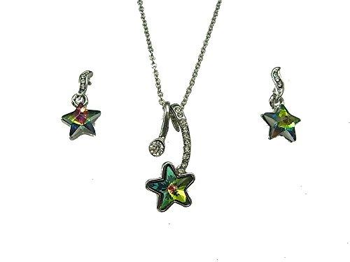 Set di gioielli collana ciondolo orecchini a forma di stella con swarovski element vitrail medium