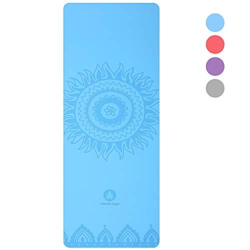 Homfa Esterilla de Yoga Antideslizante 2-in-1 de Tapete y Toalla Yoga Mat Sudor Absorbente Colchoneta de Gimnasia de PU y Caucho Natural con Double Capas 4.0 mm de Grosor 185 * 68 de Color Azul