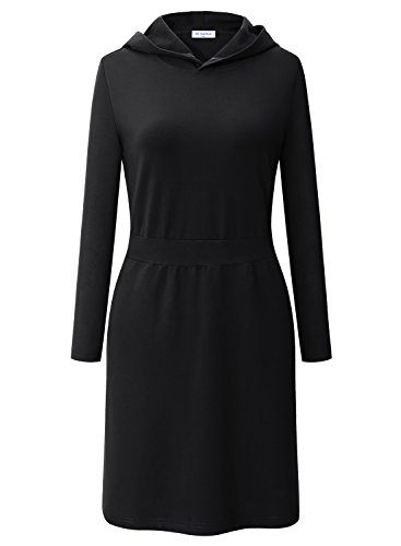 BULOTUS Damen Langarm Kapuze Kleid Casual Winter Kleid Mit Taschen (Schwarz, (Schwarze Kleid Kapuzen)