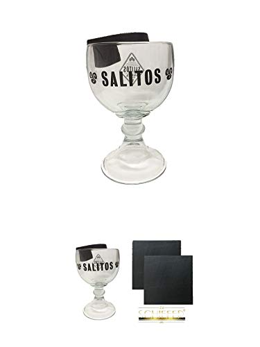 Schiefer-cocktail (Salitos Cocktail Glas + Salitos Cocktail Glas + Schiefer Glasuntersetzer eckig ca. 9,5 cm Ø 2 Stück)