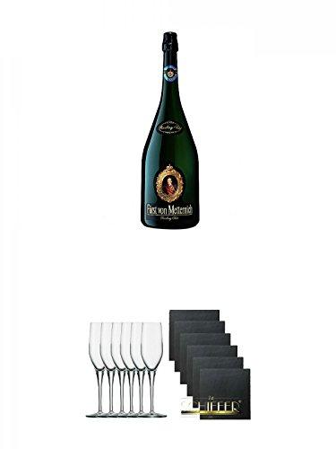 Fürst von Metternich Riesling Sekt Trocken 3,0 Liter Magnumflasche + Stölzle Exquisit Sektkelch 6er Pack + Schiefer Glasuntersetzer eckig 6 x ca. 9,5 cm Durchmesser