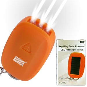 August FL605O Mini Lampe de Poche LED à Energie Solaire - Orange