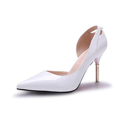 Pumps XUERUI Frau High Heels Stilettos Arbeiten Modisch Sexy 10cm Absatz (Farbe : Weiß, größe : EU38/UK5.5/CN38)