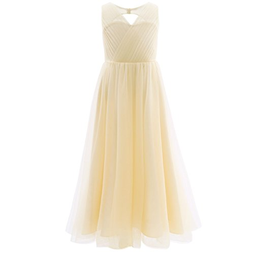 YiZYiF Kids Big Girls Backless Mesh Satin Summer Princess Bridesmaid Wedding Dance Prom Party Dress