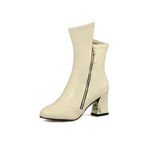 VogueZone009 Damen Mittler Absatz Weiches Material Mitte-Spitze Reißverschluss Stiefel Cremefarben