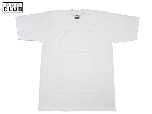 Pro Club Herren T-Shirt aus Schwerer Baumwolle, kurzärmelig, Rundhalsausschnitt - Weiß - XX-Large-Hoch -