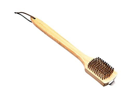 Santos Grillbürste Holz Messing für Porzellan-emaillierte oder verchromten Grillrosts - Profi Grillbürste Reiniger für Grillrost auf Gas- und Kohlegrills