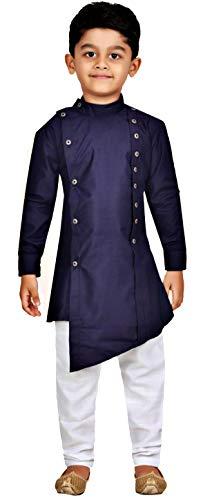 Kashvi Boy's Cotton Kurta Pyjama Dress Set (Navy Blue, 1-2 Years)