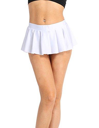 iiniim Damen Rock Elastisches Schulmädchen Skirt Mini Rock Low-Rise Faltenrock Kurz Röcke M-XXL Weiß M