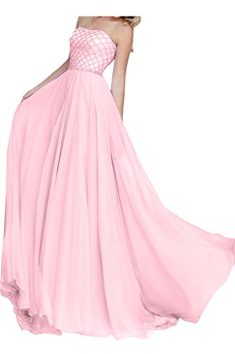 TOSKANA BRAUT Modern Traegerlos A-Linie Chiffon Lang Party Fest Ball Abendkleider Perlenrosa