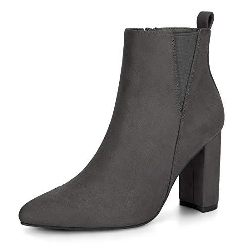 Allegra K Damen Spitze Blockabsatz Wildleder Stiefeletten Schuhe Chelsea Boots Grau 38.5 EU/Etikettengröße 8 US -