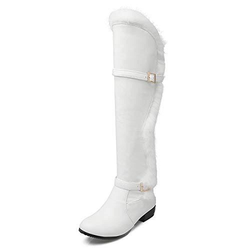 Damen Oberschenkel Hoch Flache Niedrige Ferse Damen Schnalle Winter Elegant Hohe Stiefel Overknees Stiefeletten,White-EU:43=12B(M) US (Bein-boot Block-ferse,)