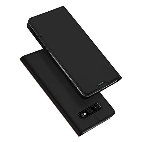 DUX DUCIS Hülle für Samsung Galaxy S10E,Ultra Dünn Flip Folio Handyhülle mit [Magnet,Standfunktion,1 Kartenfach] (Schwarz) Leder-flip Folio