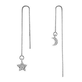 ACVIP Ladies Silver Plated Tassel Threader Dangle Drop Earrings Ear Line (Star and Moon)