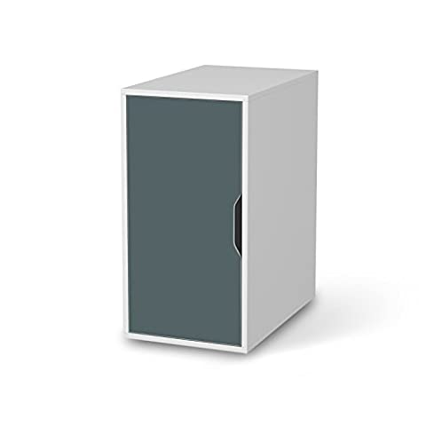 Möbel-Sticker Folie für IKEA Alex Schreibtisch-Schrank | Dekoaufkleber Dekorfolien Möbel-Folie | Inneneinrichtung einrichten Innendeko | Farbe Blaugrau 2
