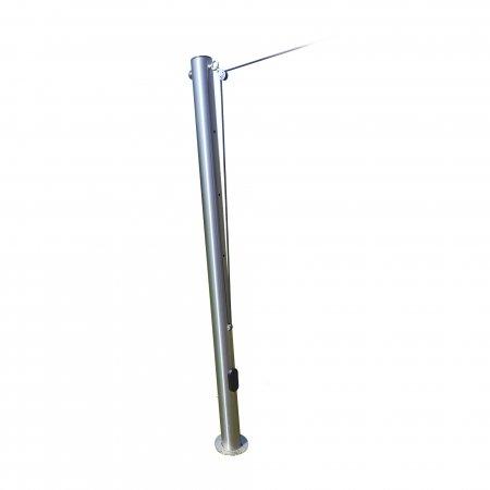 Jarolift Edelstahlmast höhenverstellbar 70-130cm inkl. Kurbelgetriebe, Bodenhülse und Abdeckkappe