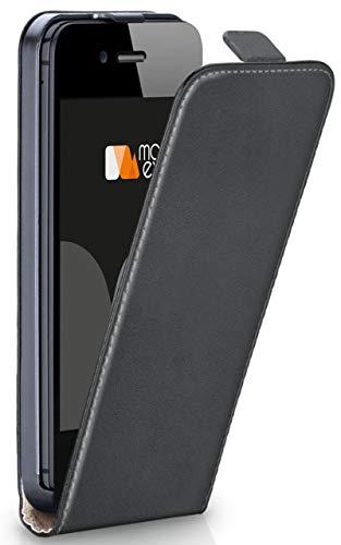 moex® Flip Case mit Magnetverschluss [Rundum-Schutz] passend für iPhone 5C | 360° Handycover aus feinem Premium Kunst-Leder, Dunkel-Grau - Dunkel Grau Leder