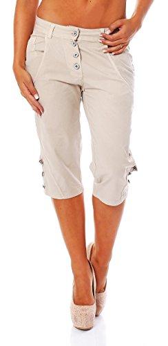 Trendige Damen Capri Boyfriend Jeans Baggy Chino Hose mit Knopfleiste am Bein in Beige, Größe S / 36