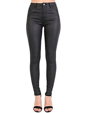 PILOT® imitación de cuero de estilo mezclilla pantalones flacos elásticos