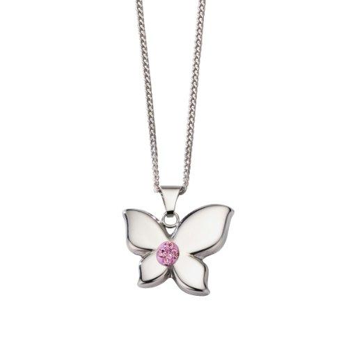 Crystelle Damen-Anhänger mit Kette Schmetterling 925 Sterlingsilber pinke Swarovski Kristalle 42cm 500244404-42R