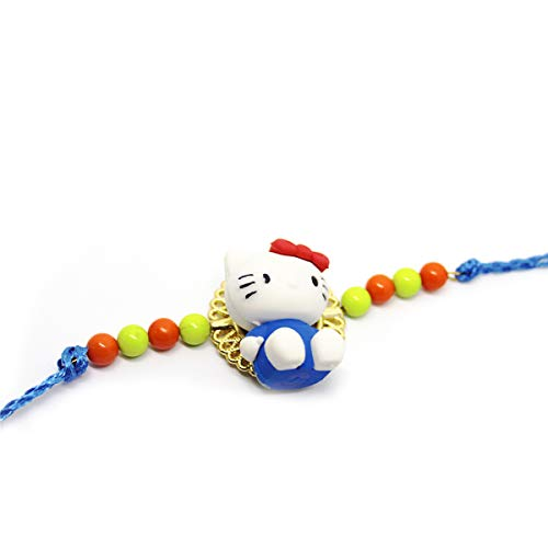 Onewy Colorful Hello Kitty Eraser Rakhi with Beads for Kids Brother Gift Toy Pencil Eraser Rakhi