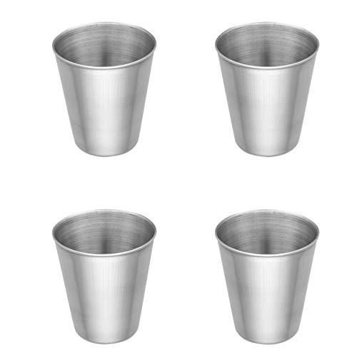 dPois 2/4er Set Trinkbecher Glaskessel aus Edelstahl Becher Tasse Schnaps Becher Outdoor Camping Becher 50ml/180ml/320ml/500ml Silber 50ml,4er