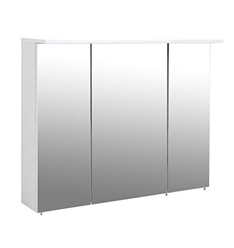 Schildmeyer 127349 Spiegelschrank, melaminharzbeschichtete Spanplatte, weiß, 100,5 x 16 x 72,5 cm (Breite-bad Licht)