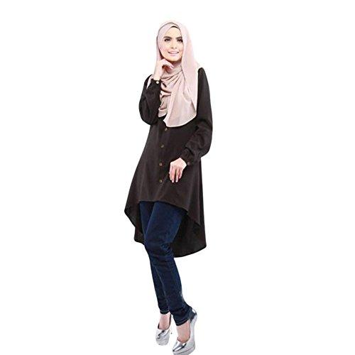 Haodasi Musulman Femme Manche longue Large Yards Loose Chemise Robe Abaya Habits Black
