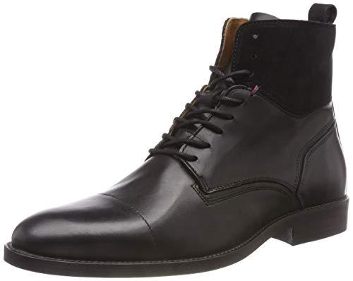 Tommy Hilfiger Herren Essential Material Mix Combat Boots, Schwarz (Black 990), 45 EU