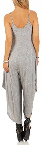 malito Damen Einteiler in Uni Farben   Overall mit Fledermaus Schnitt   Oversize Jumpsuit �?Playsuit �?Romper 2137 Hellgrau