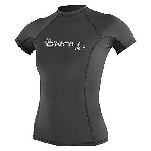 O\';Neill Damen Basic Skins Kurzarm Crew Rash Weste Top Graphite - UV-Sonnenschutz und SPF-Eigenschaften