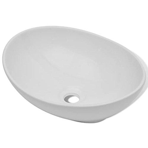vidaXL Lavabo en Forme Ovale Céramique Blanc Lave-Mains Vasque Salle de Bain